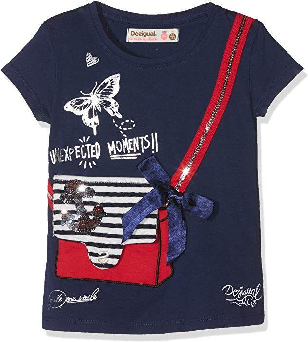 Desigual Girl S Ts Earwig T Shirts Blue Navy 5000 128 Size 7 8 Amazon Co Uk Clothing Shirts Desigual T Shirt