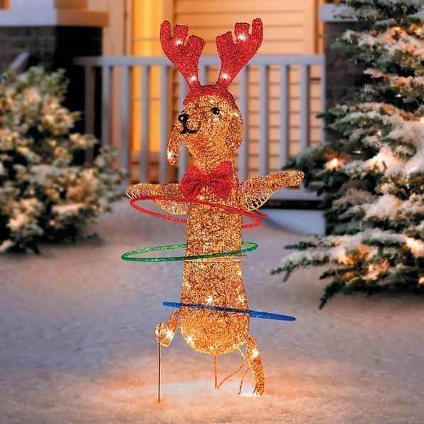 christmas lighted indoor outdoor hula hoop dog yard lawn garden staks decoration unbranded