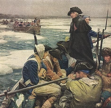 Washington crossing the Delaware before the Battle of Trenton (La