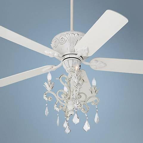 Casa Deville Rubbed White Chandelier Ceiling Fan Style 87534 45518 4g156