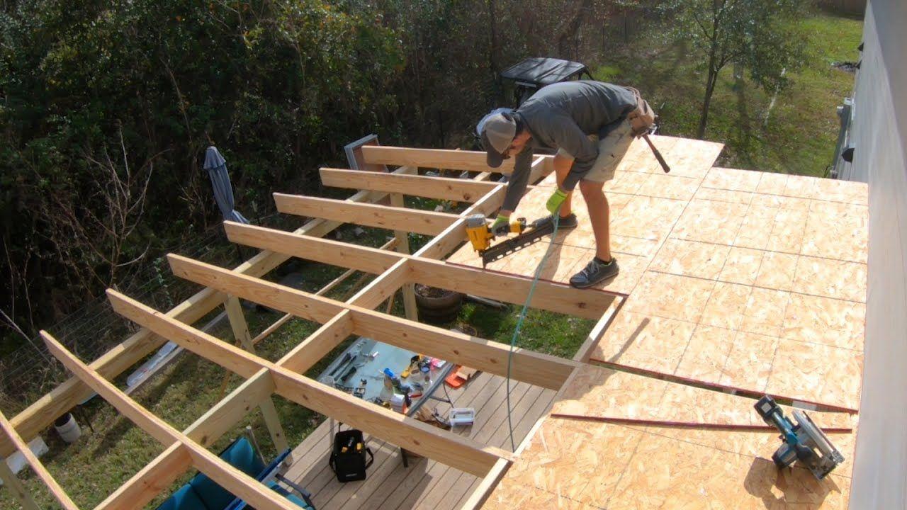 Diy patio roof build youtube in 2020 diy patio