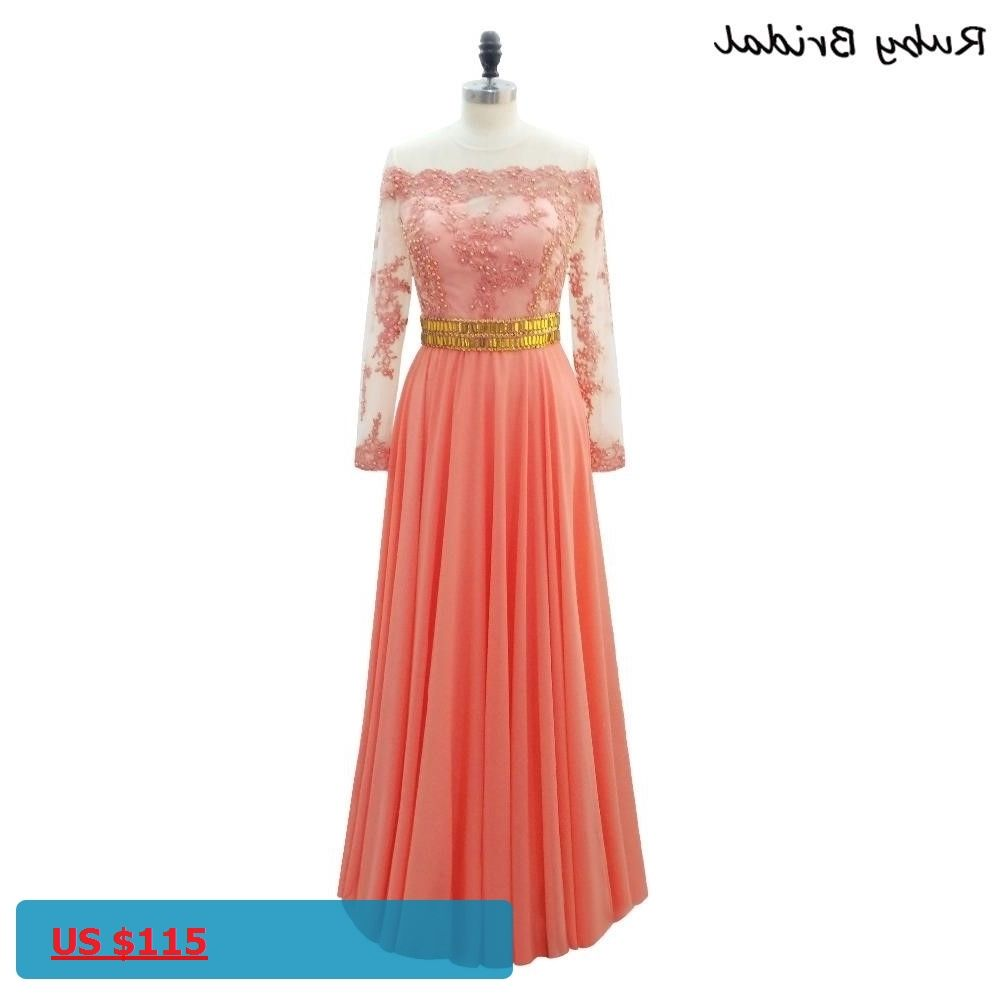 Ruby Bridal Luxury Orange Chiffon Appliques Beads A-line Long Evening Dress  Vestido De Festa 268ab65b03a0