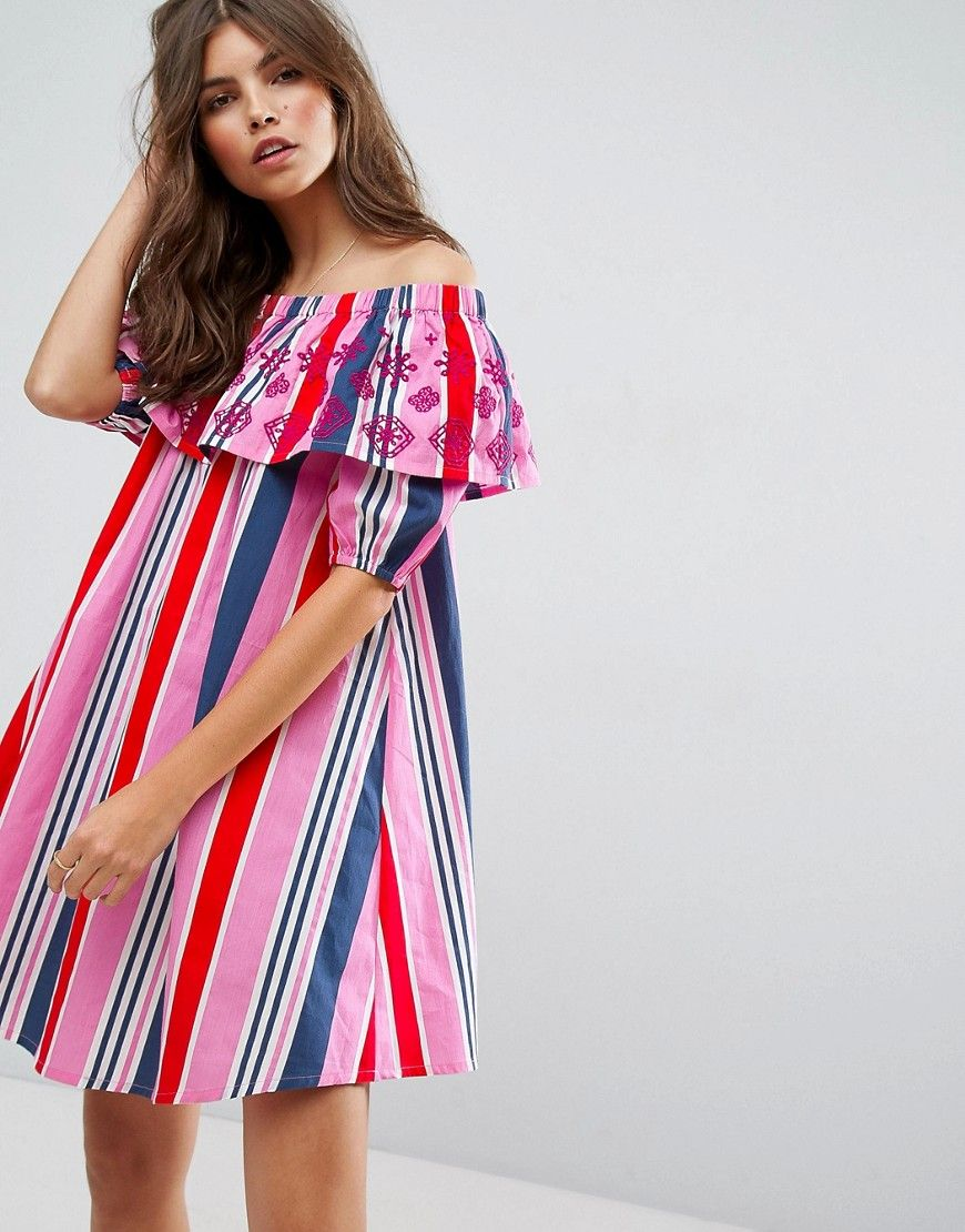 0a67943b6a ASOS Stripe Off Shoulder Dress With Embroidered Ruffle - Multi ...