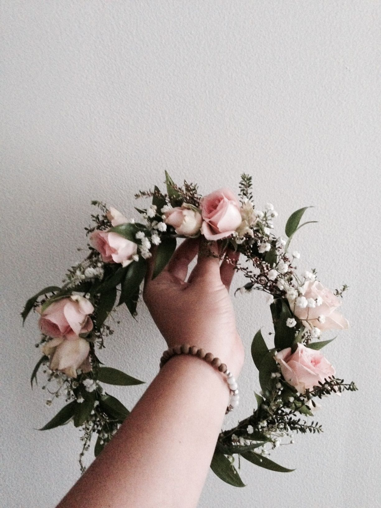 Bohemian Flower Crown Light pink roses baby s breath and dark green f