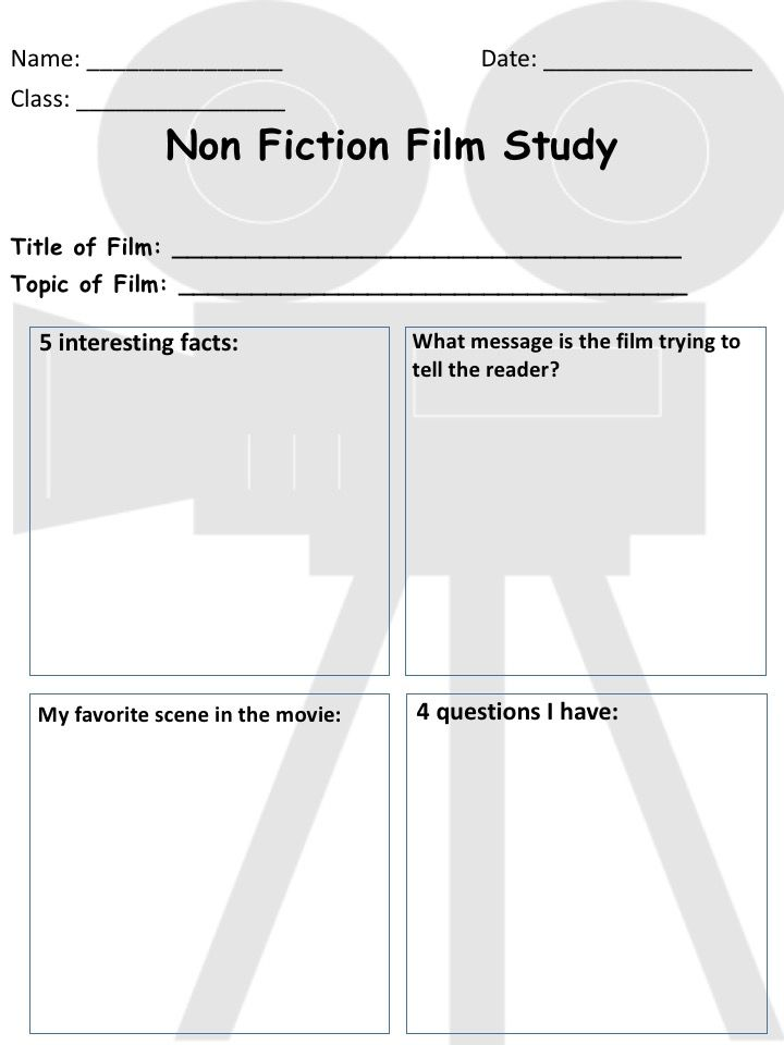 Non Fiction film study worksheet Keep students motivated and – Film Study Worksheet