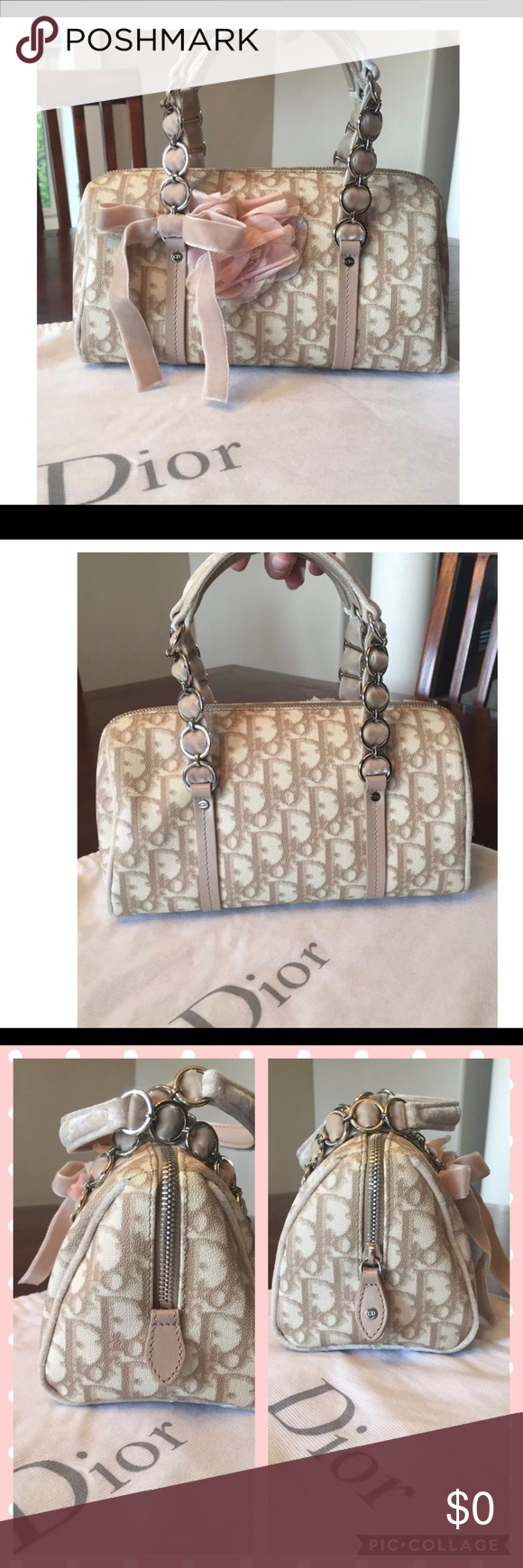 Christian Dior Diorissimo Bag😍 Christian Dior Diorissimo Romantic Trotter  Bag with Velvet Bow and Delicate Pink Flower. Zipper from one side to other  for ... 3d1548ed5f642