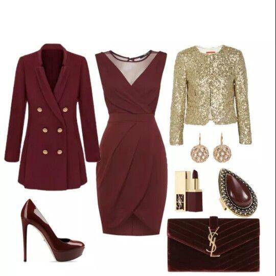 Un Vestido Rojo Quemado Depende Los Accesorios Para Una