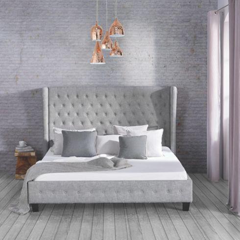 romantisches bett in grau - märchenhafter schlafgenuss für ihr