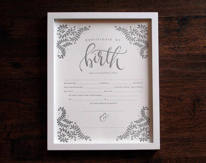 Birth Certificate 11x14 Letterpress Print art print