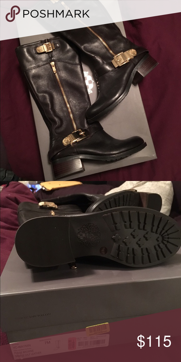 Never worn Vince Cameron boots Bought on sale for $170. Original price $239. These are beautiful but have sat in my closet unworn. Original Box included Vince Camuto Shoes Combat & Moto Boots