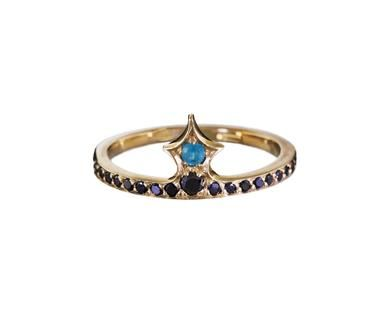 Michelle Fantaci - Pawn Ring with Black Diamonds and Paraiba Tourmaline in Rings Stones at TWISTonline