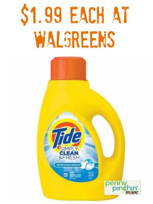 image regarding Tide Simply Clean Printable Coupons titled Tide Only Fresh new and Clean for $1.99 at Walgreens (Print
