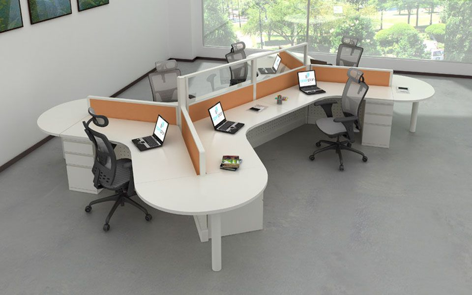 modular workstations with 120-degree curves to accommodate unique