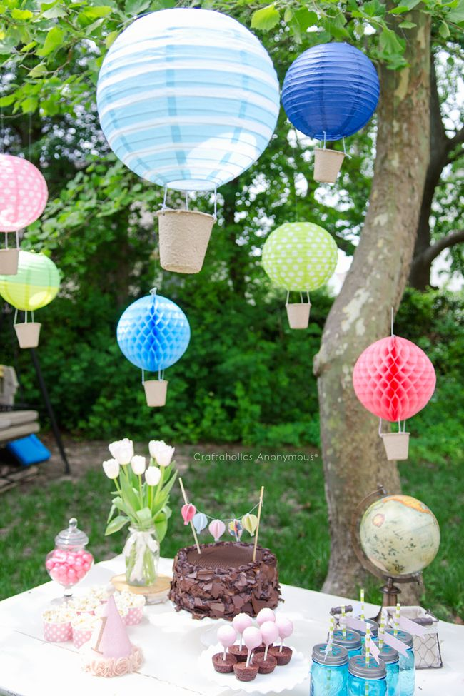 vintage hot air balloon birthday party hot air balloons air balloon and paper lanterns. Black Bedroom Furniture Sets. Home Design Ideas