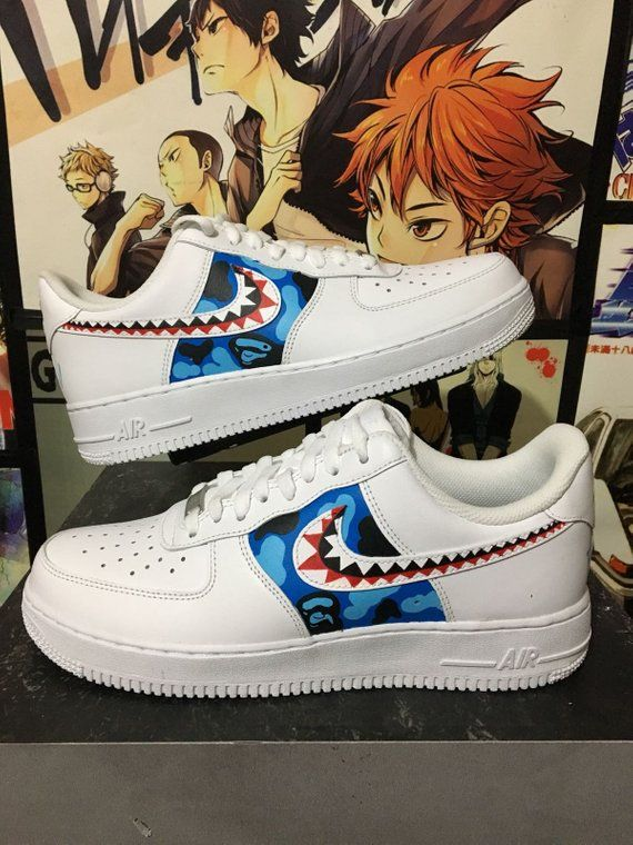 00b598ab68731 Custom Nike Air Force one,bape shark,custom sneakers , custom shoes ...