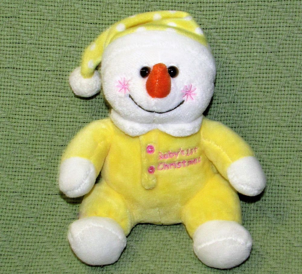 "Walmart BABY'S 1st CHRISTMAS Plush Snowman 7"" YELLOW White"