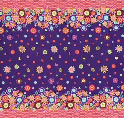 purple flower diamond double border fabric Timeless Treasures  4
