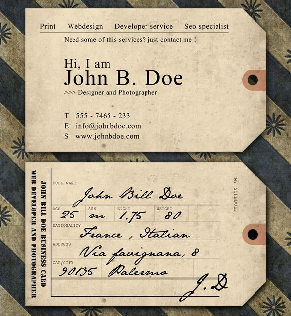 Creative And Unique Business Card Templates Business Cards - Vintage business card template