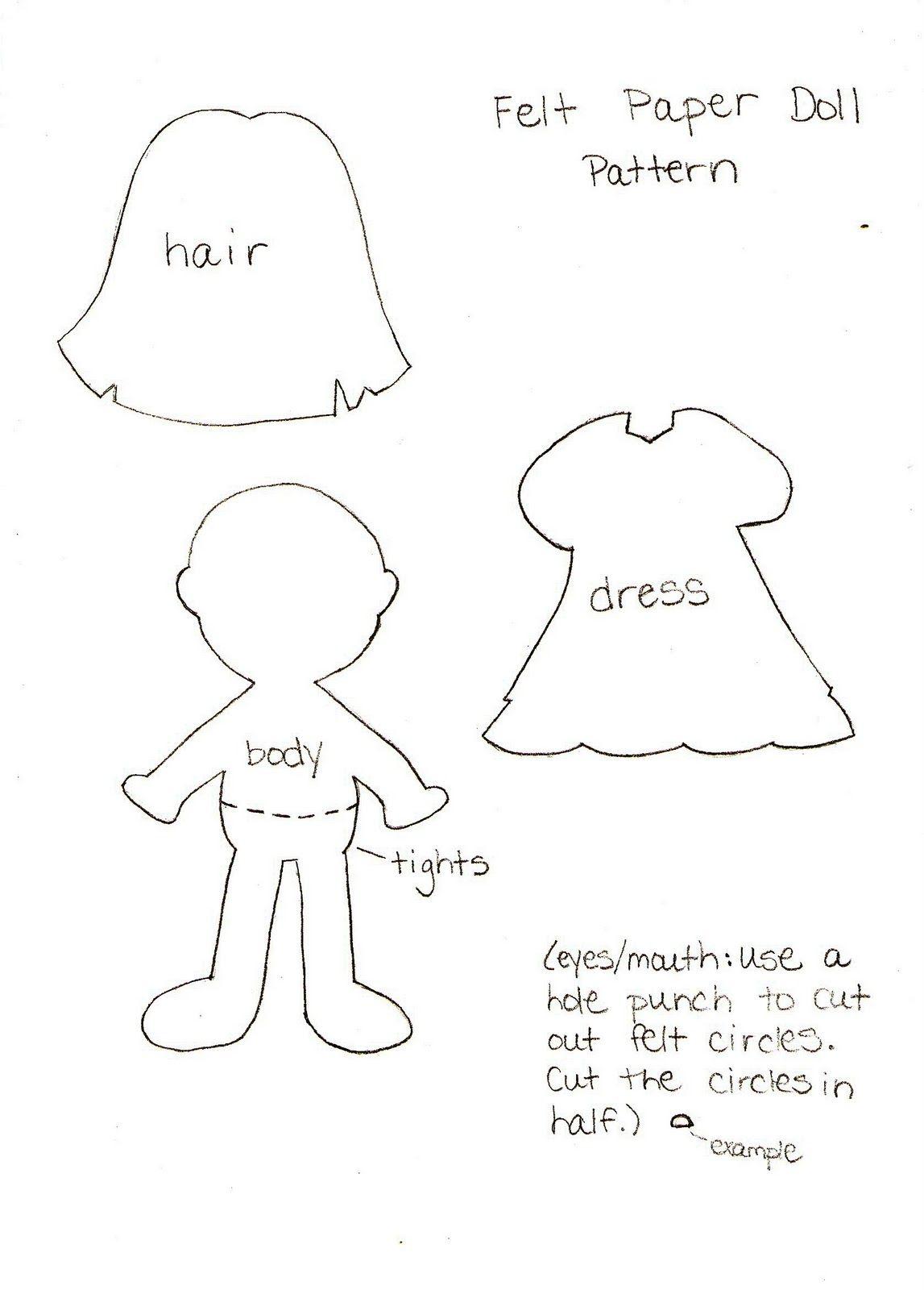 Felt Paper Doll Pattern | Crochet | Pinterest | Dolls, Patterns and ...