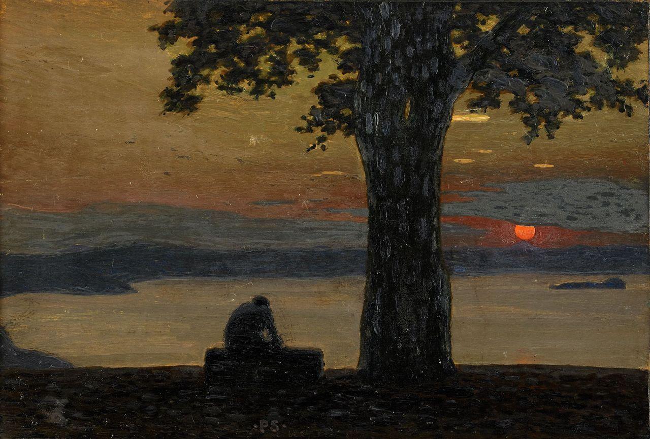Pelle Swedlund (Swedish, 1865-1947),Månskensnatt [Moonlit night]. Oil on panel, 29.5 x 43.5cm.