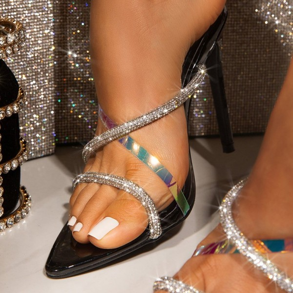 Black Rhinestone Cross Over Mule Heels Open Toe Stiletto Heel Mule for Formal event, Date, Big day, Anniversary, Honeymoon | FSJ #stilettoheels #glittershoes #highheels #opentoe #muleshoes #fashionshoes #trendyheels