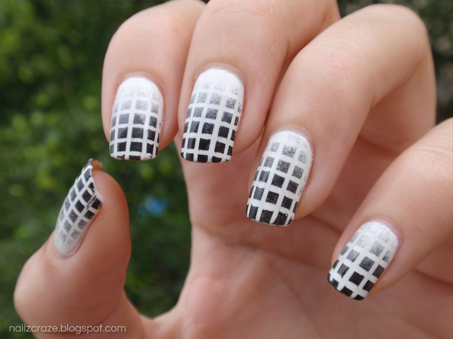 Black White Nail Art Designs Black And White Grid Nail Art