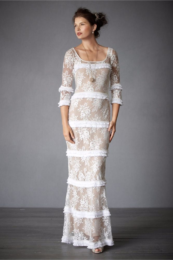 BHLDN Tracy Reese Esprit de Corps Wedding Gown Ivory Nude Lace Size ...