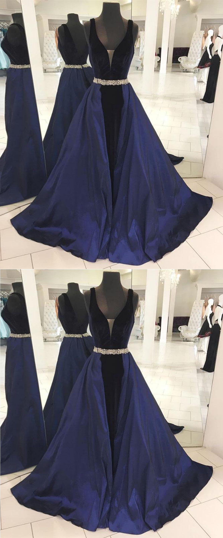 Elegant navy blue long vneck beaded prom dresses pretty