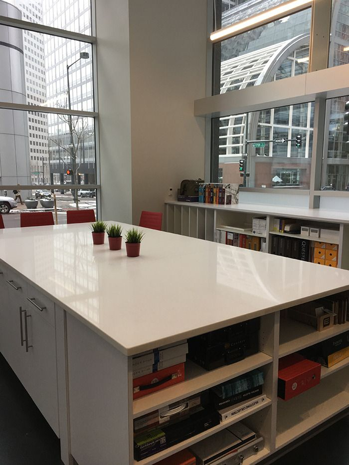 Linen Quartz Gives A Bright Contemporary Feel To This Library