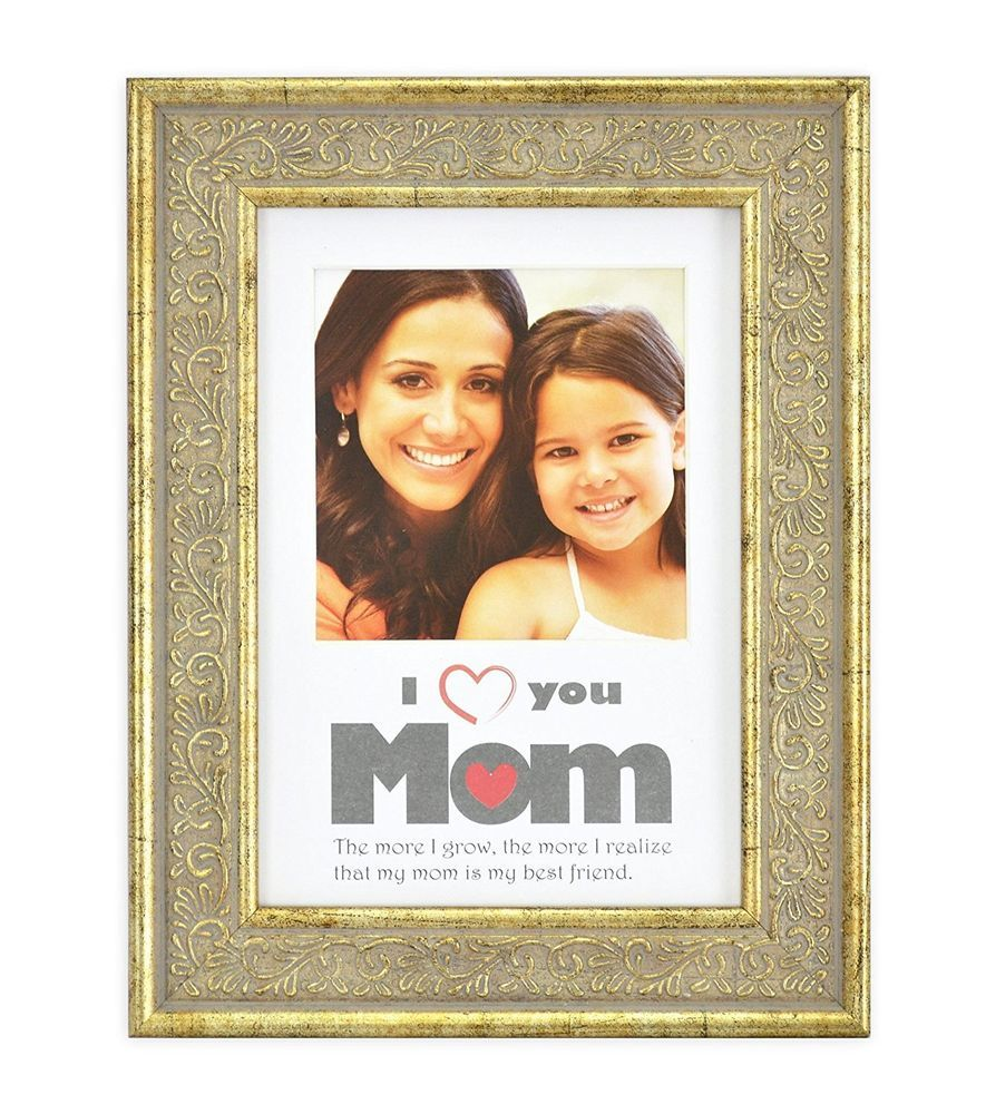 Mother\'s Day Gift, Gold Wood Table Picture Frame (5x7 For 4x4 Photo ...