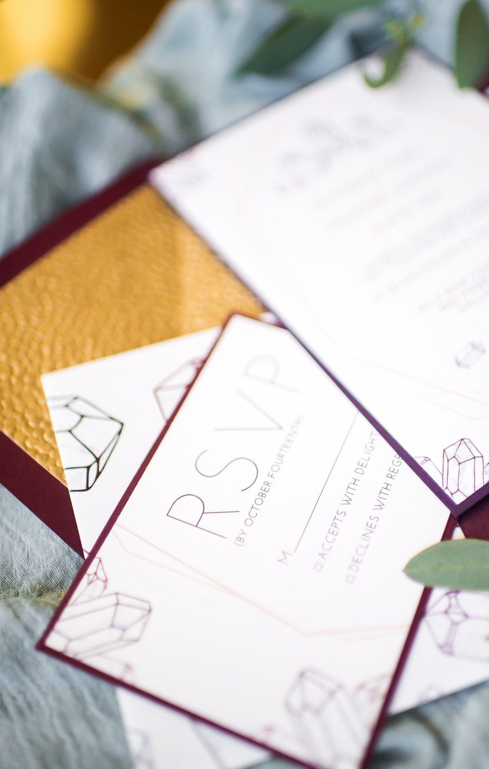 Modern Gemstone Bohemian Wedding Invitation Suite | Hands of Hollis ...
