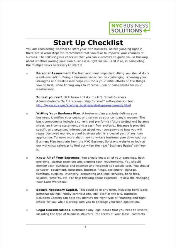 Business Startup ChecklistFree Printable Samples  Still Dreaming