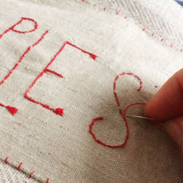 Stitching .... finishing the title on my new sample book...A book of inspiration and a place to keep safe my #jessiechorleyembroiderytemplates and some of my favourite samples for all my upcoming 2017 workshops www.jessiechorleyworkshops.bigcartel.com #jessiechorleyworkshops #jessiechorleytheshop #jessiechorleyembroidery #stitchingtime #embroideredtext #samplebooks#embroideryartist