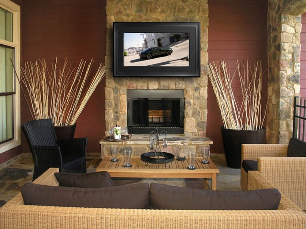 living room with stone fireplace with tv. TV+Over+Fireplace+Ideas | Fireplace Designs With TV Above Living Room Stone Tv H