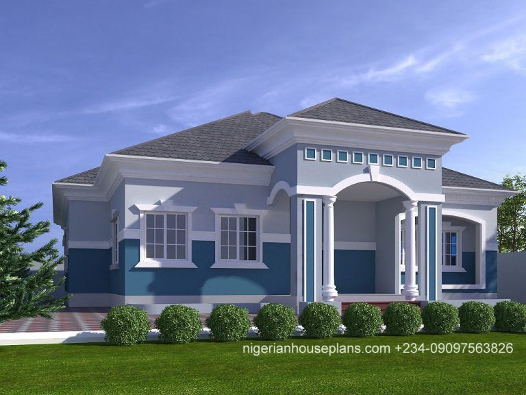 4 Bedrooms Archives Nigerianhouseplans Bungalow Style House Bungalow House Design House Construction Plan