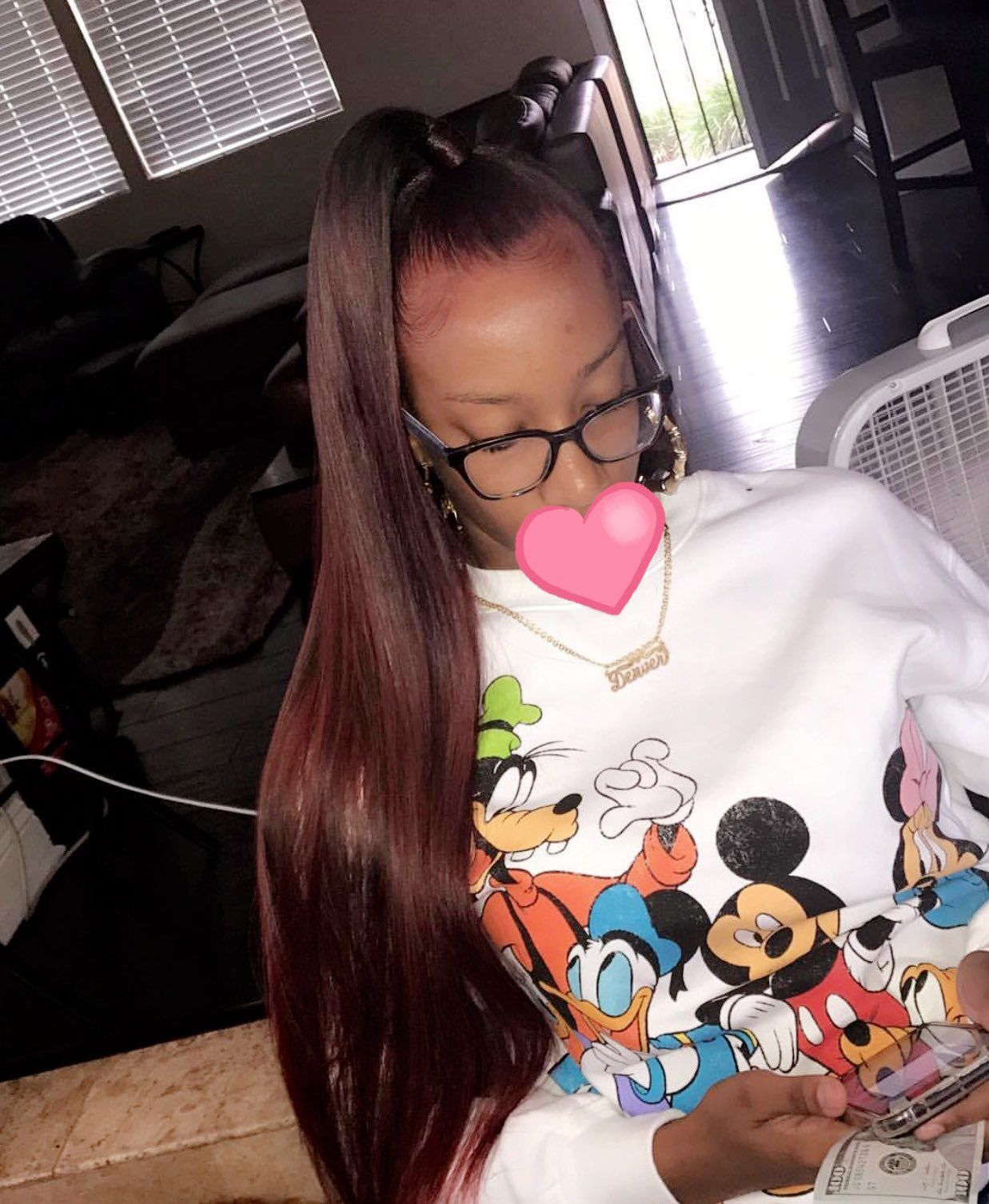 Half Up Half Down Sew In Straight Hairstyles Hair Styles Dyed Natural Hair