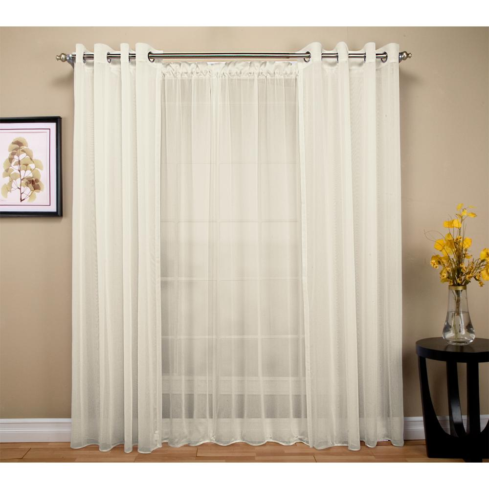 Ricardo Trading Tergaline 108 In W X 63 In L Double Wide Sheer Rod Pocket Window Panel In Ivory 03535 70 263 02 Sheer Curtain Panels Panel Curtains Curtains