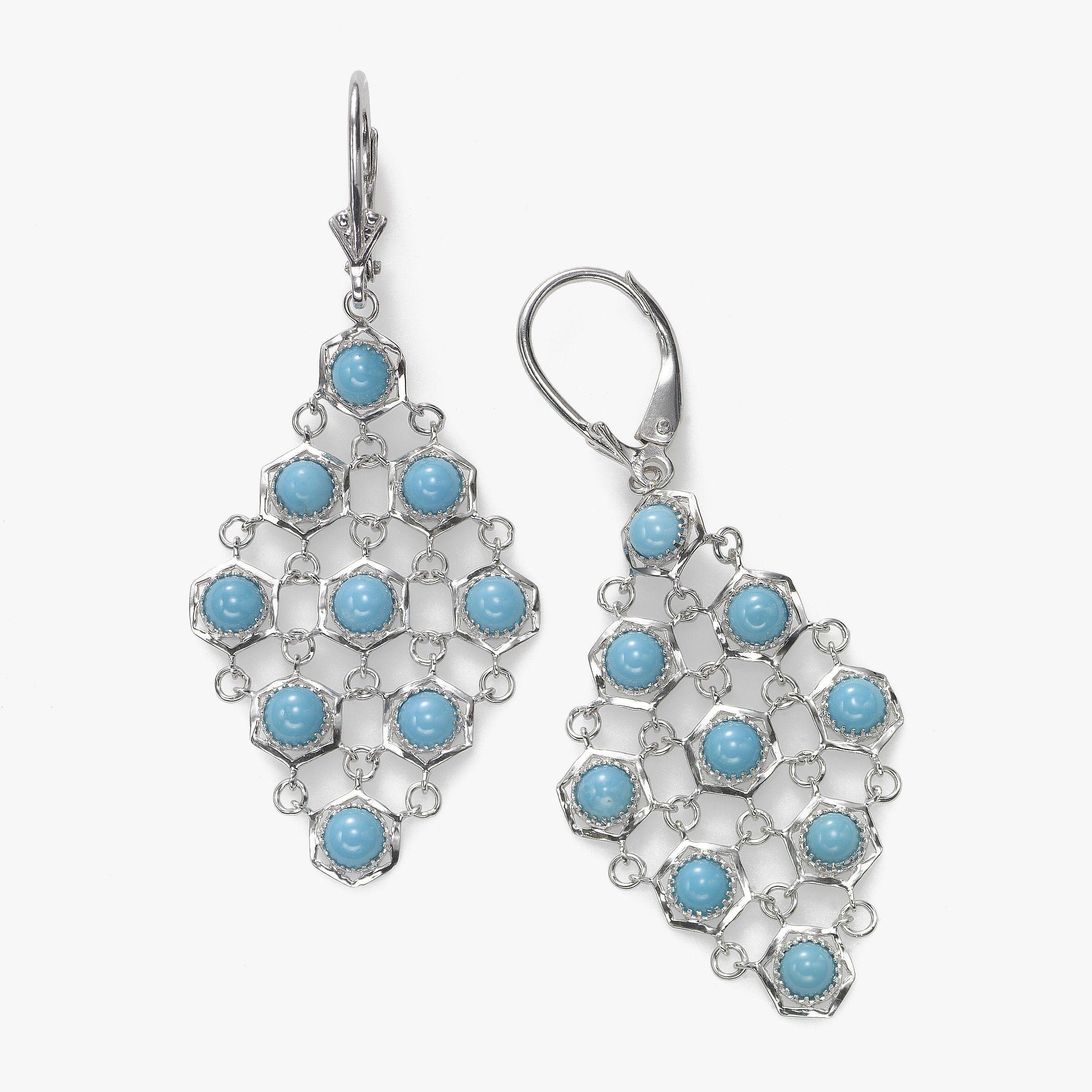 Turquoise Flutter Earrings, Sterling Silver