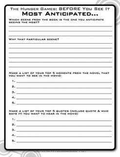 The Hunger Games Post-Reading Free Worksheet | If I were an ...
