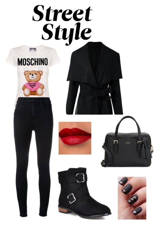 """""""Sem título #159"""" by jullysakura ❤ liked on Polyvore featuring Moschino, J Brand, Kate Spade, StreetStyle and NYFW"""