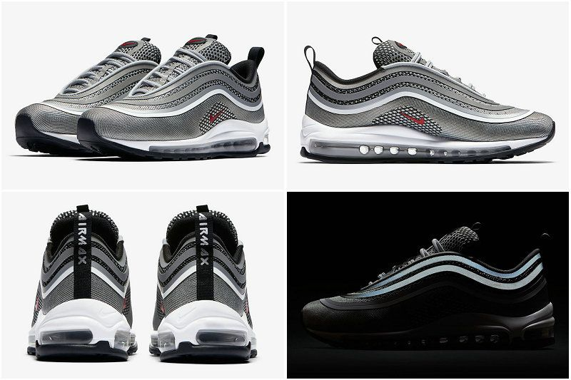 2017 Fall Winter New NIKE Air Max 97 Ultra 17 Silver Bullet Metallic Silver  Varsity Red Black 917704-002 f5e2526a1