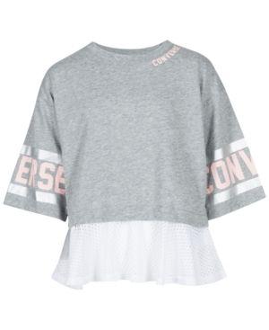01d6345d126e85 Converse Big Girls Mesh-Trim Graphic-Print T-Shirt - Gray M (10 12 ...