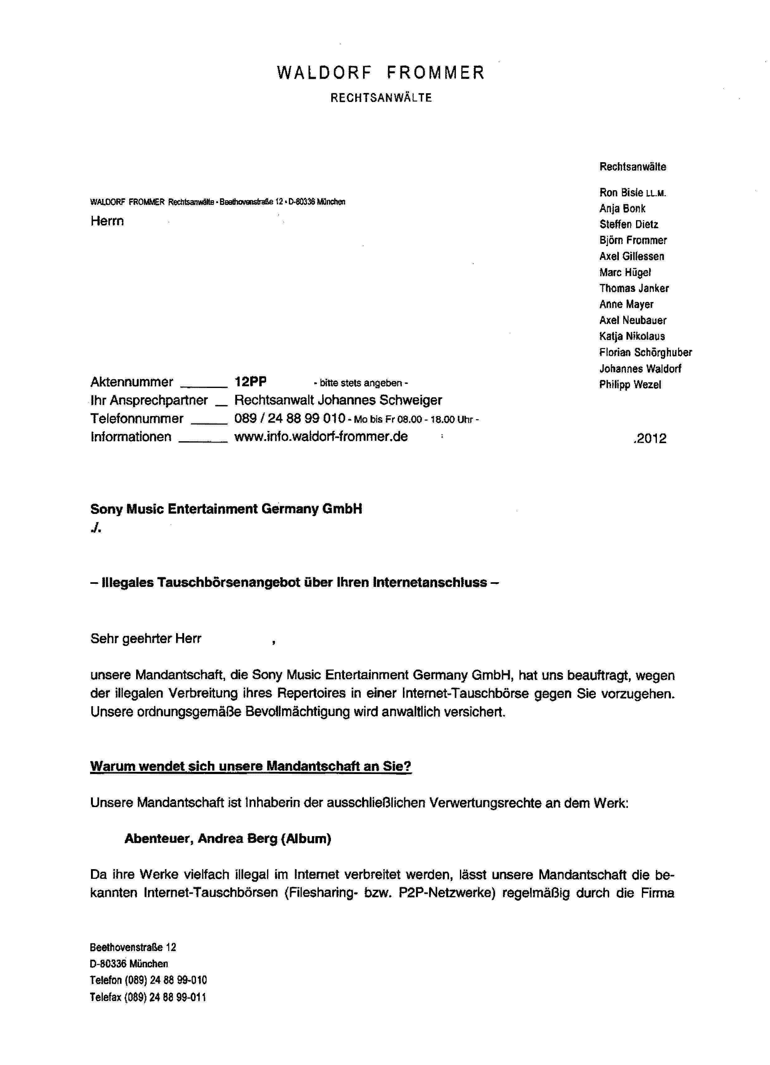 Briefe Von Waldorf Frommer : Erste seite einer abmahnung der kanzlei waldorf frommer im
