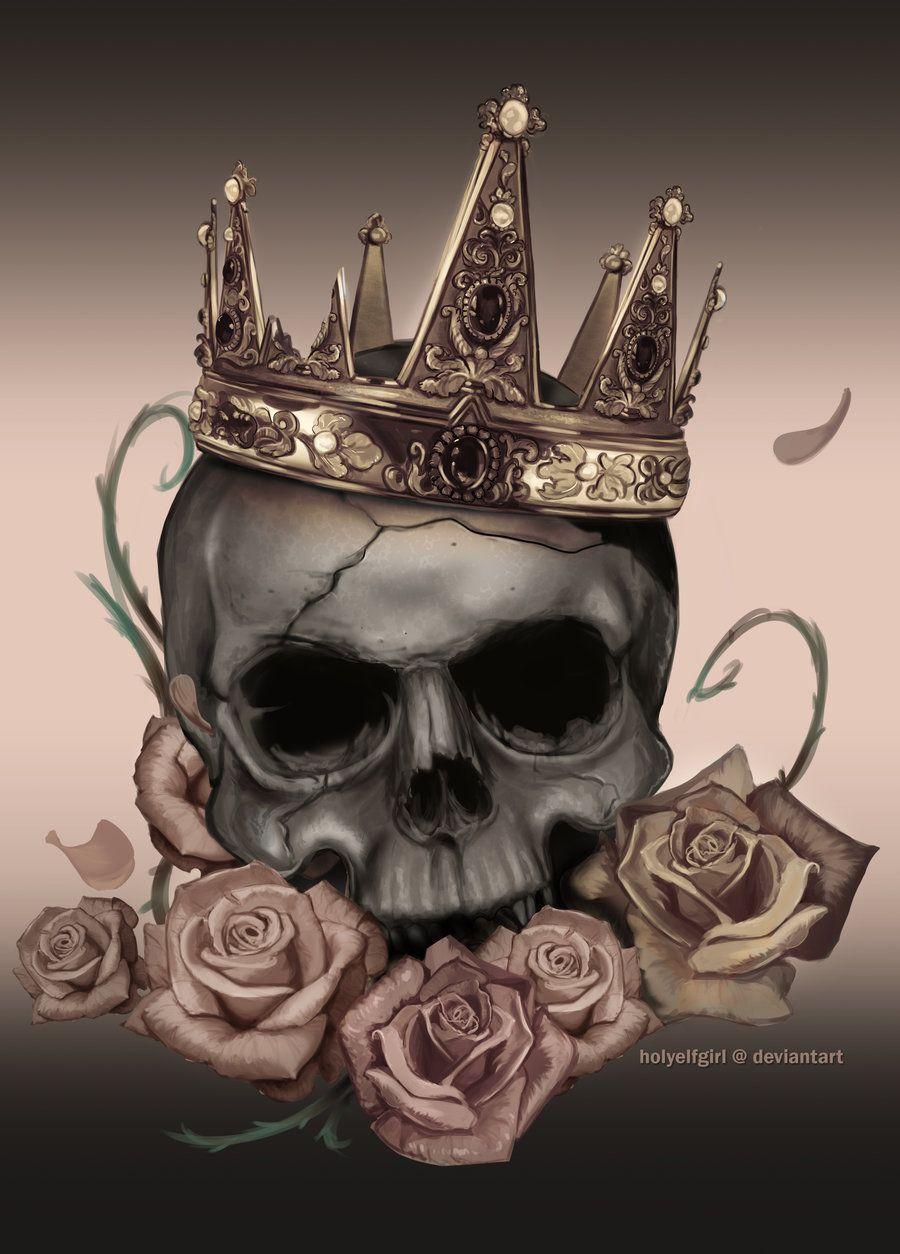 Skull Desaturated By Holyelfgirldeviantartcom On