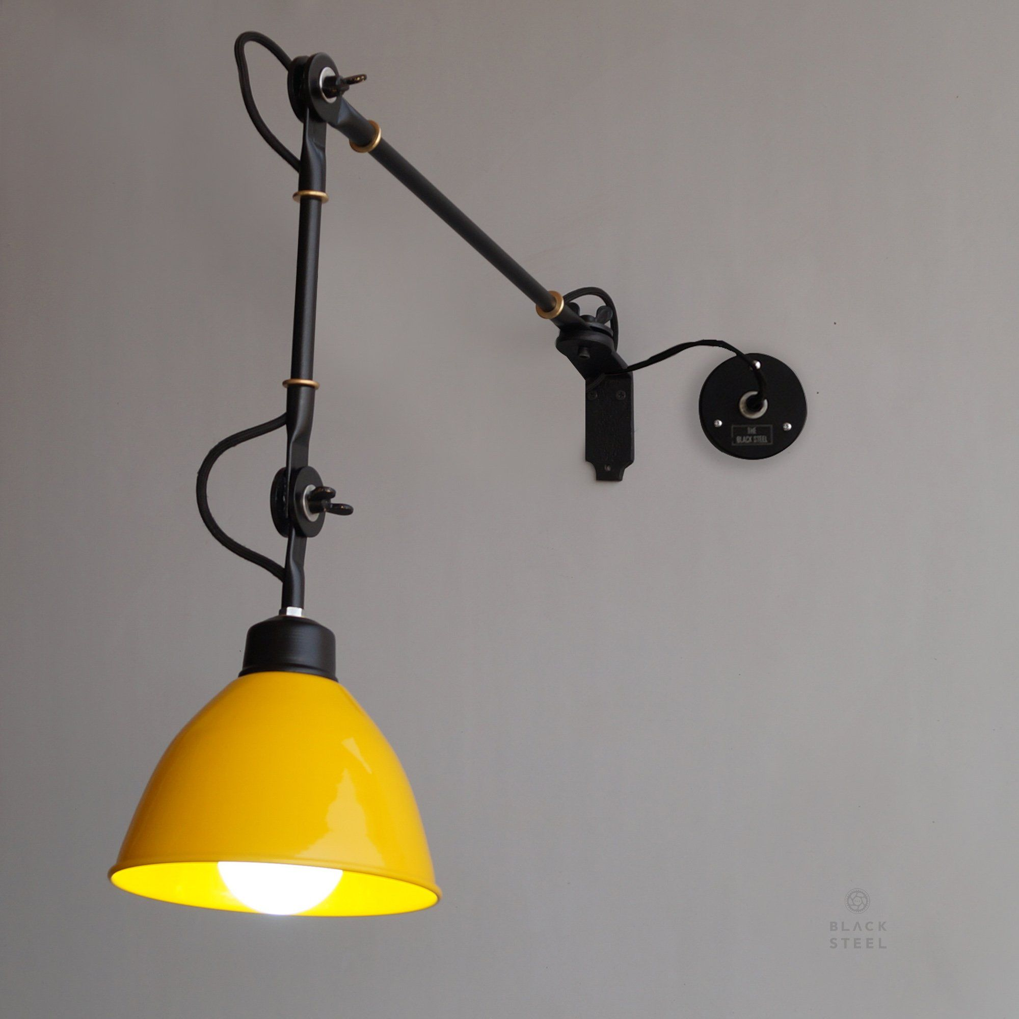 Yellow Wall Sconce De Stijl Inspired Swing Arm Wall Mounted Light