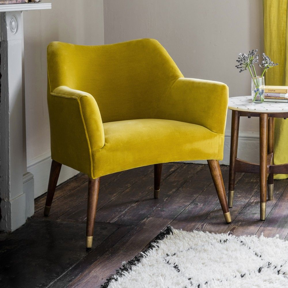 Astoria Chair In Mustard Yellow Velvet With Br Caps Green Dining Chairs