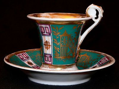 "early 1800 Empire porcelain CUP, SAUCER, Old Paris, France, Chinoiserie, 3..5""t"
