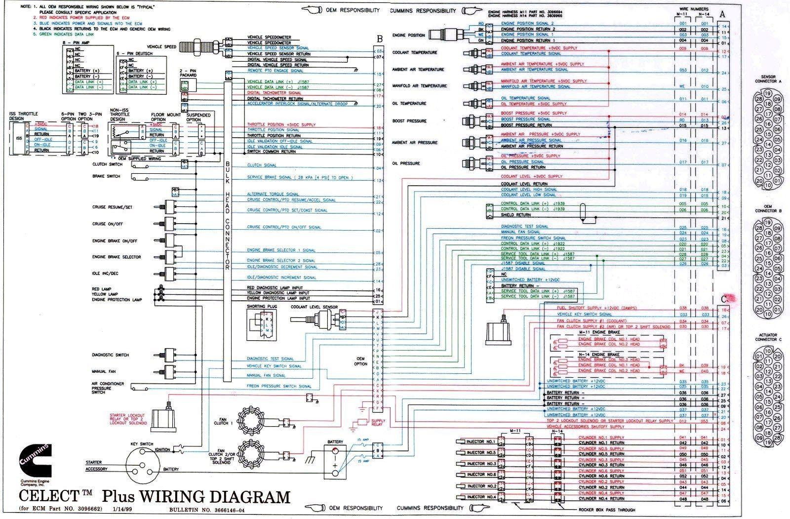 Diagrama De Cableado De Cummins N14 Celect Cummins Cummins Generators Cummins Engine