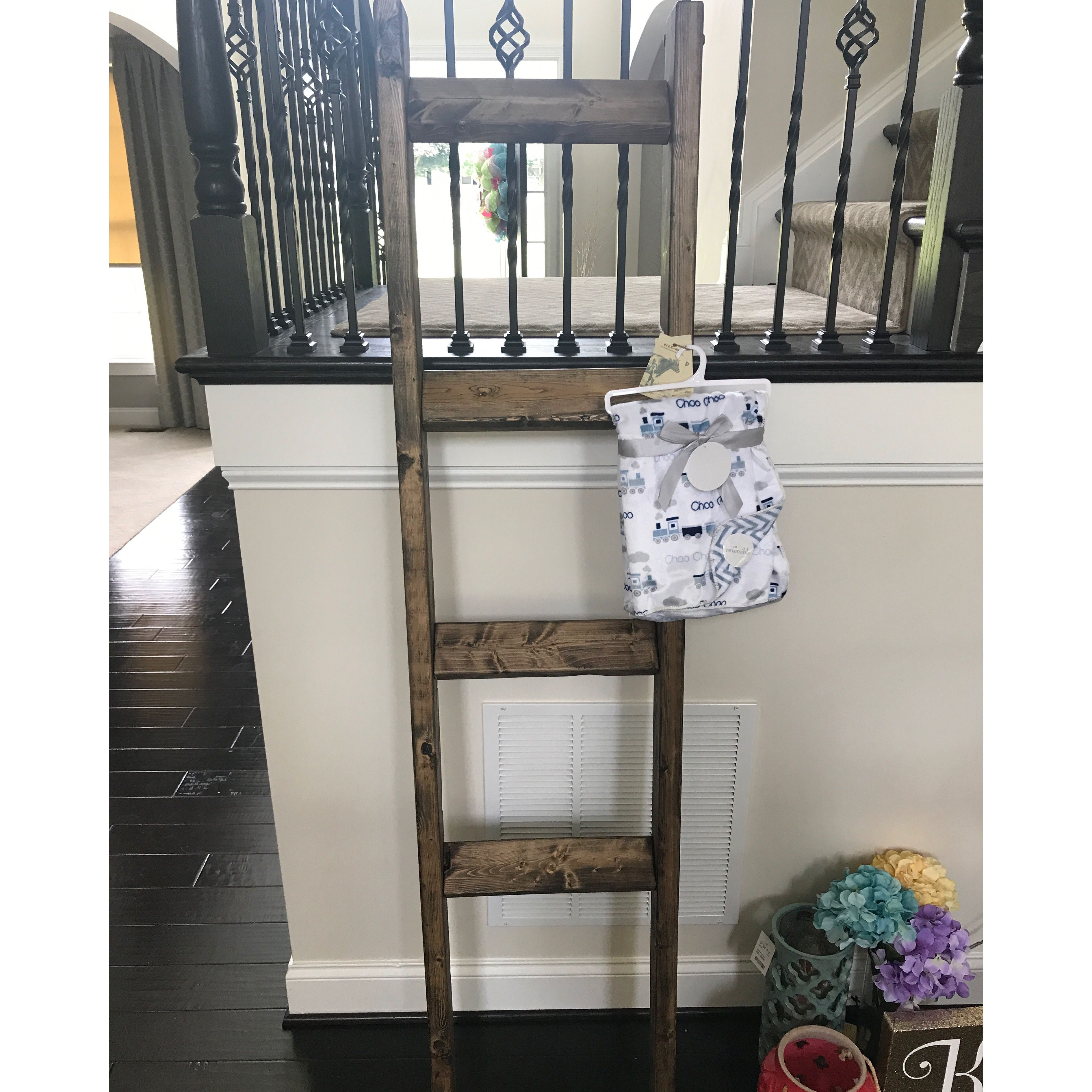Blanket ladders make a great baby shower gift ladder decor