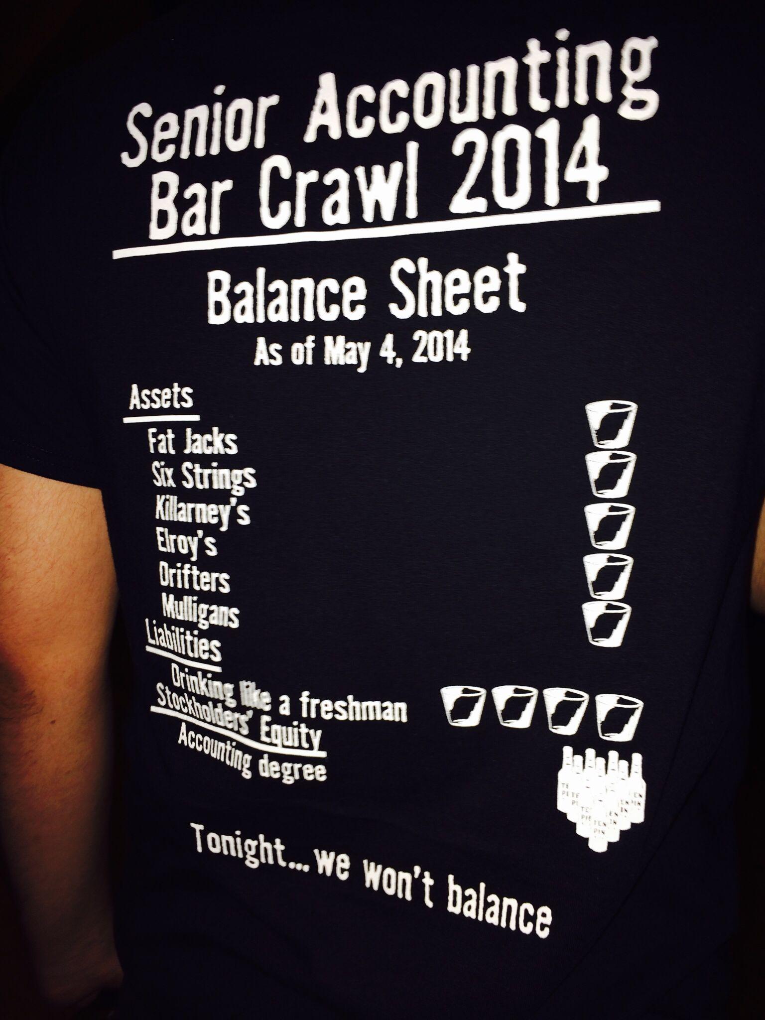 accounting bar crawl --back of shirt--assets = bar names
